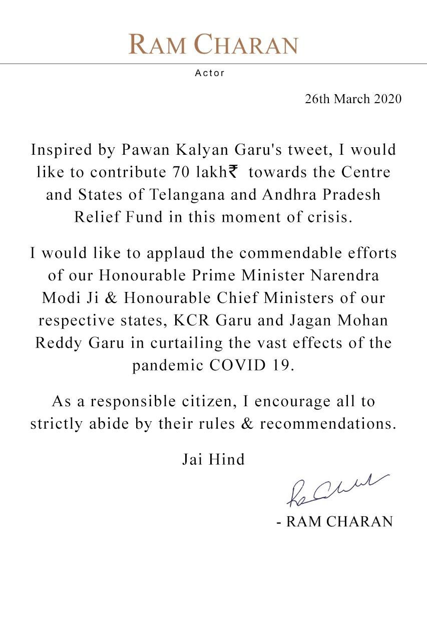 Ramcharan Announced 70 Lakhs